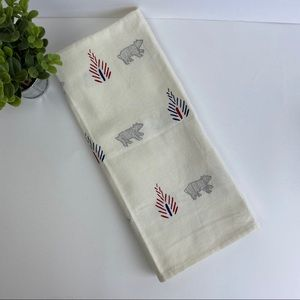 West Elm Cream & Silver Bear Tea Towel NWOT